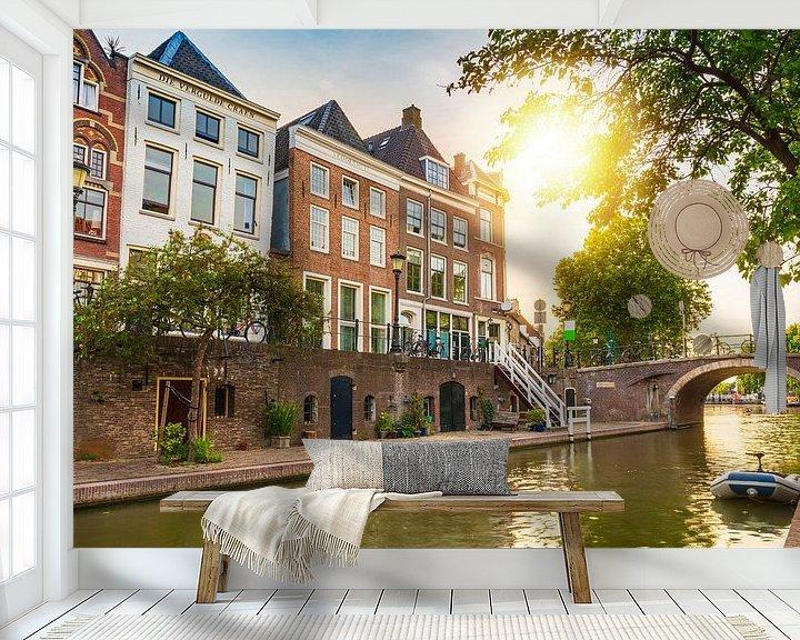 Sfeerimpressie behang: Oudegracht, Utrecht van Sander Meertins