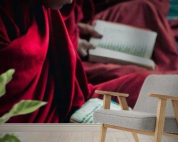 Jonge boeddhistische monnik die studeert van Edgar Bonnet-behar