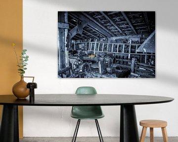 Die alte Werkstatt in schwarz-weiß.