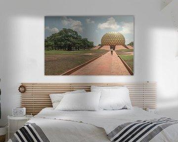 Heilige tempel (matrimandir) in Auroville van Edgar Bonnet-behar