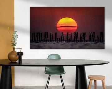 Zonsondergang Waddenzee van Martijn van Dellen