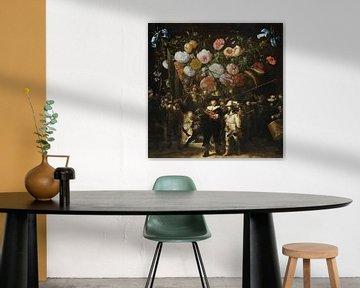 Nachtwächter x Blumenkranz, Rembrandt und Jan Davidz de Heem