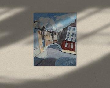 Rue Saint Rustique Paris van Antonie van Gelder Beeldend kunstenaar