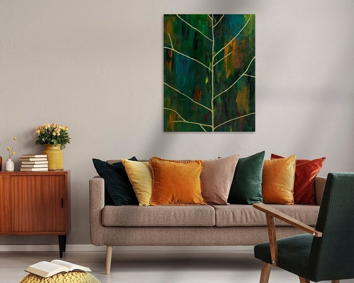 Sfeerimpressie: Abstract schilderwerk van bladnerven op papier van Danielle Roeleveld
