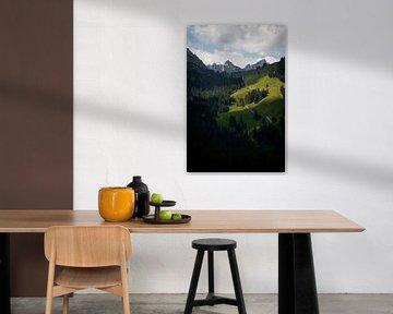 Landschapspanorama Zwitserse bergen van Reto Meier