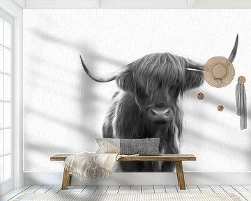 Schotse Hooglander in de sneeuw zwart/wit schilderij van Sander Jacobs