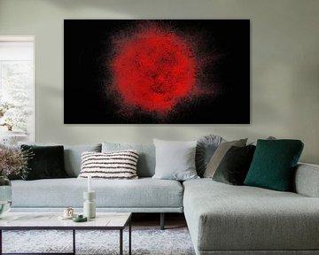 Abstract rood zwart pointillism van Maurice Dawson