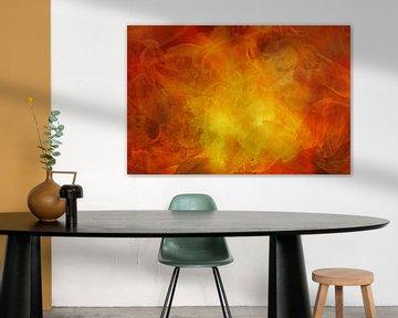 Natuurelement Vuur, abstracte achtergrondtextuur in geel, oranje en rood, voor thema's als klimaatop van Maren Winter