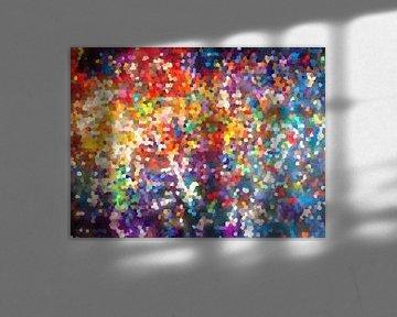 Modernes, abstraktes digitales Kunstwerk in Orange, Blau von Art By Dominic