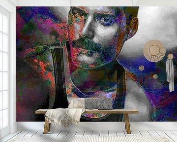 Freddie Mercury Abstraktes Porträt in Lila, Orange, Rosa von Art By Dominic