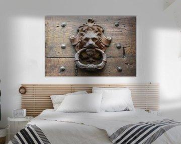 vieux heurtoir en métal en forme de tête de lion sur une porte en bois rustique en italie