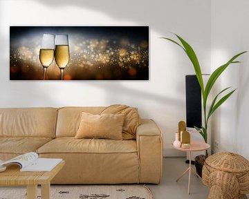 Gelukkig Nieuwjaar 2020, twee glazen champagneglasflessen die tegen een donkere achtergrond toasten  van Maren Winter