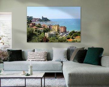 Lerici met haven en kasteel, een pittoresk dorpje in Ligurië, provincie La Spezia en een deel van de van Maren Winter