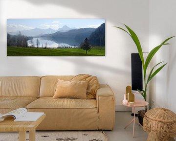 weissensee, meer in het ochtendlicht voor de blauwe bergen van de bavariaanse alpen bij füssen in de van Maren Winter