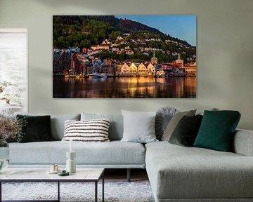 Zonsondergang in Bergen, Noorwegen van Adelheid Smitt