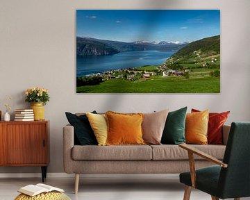 Uitzicht op Nordfjord, Noorwegen van Adelheid Smitt