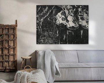 Theeservies, houtsnede zwart-wit, grafiek van Paul