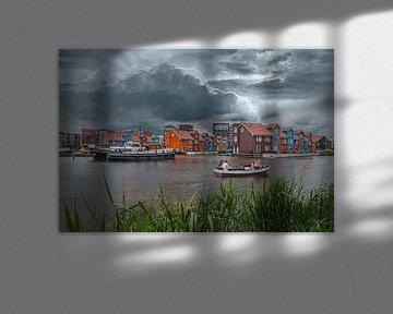 Gewitter über dem Reitdiep in Groningen. von Elianne van Turennout