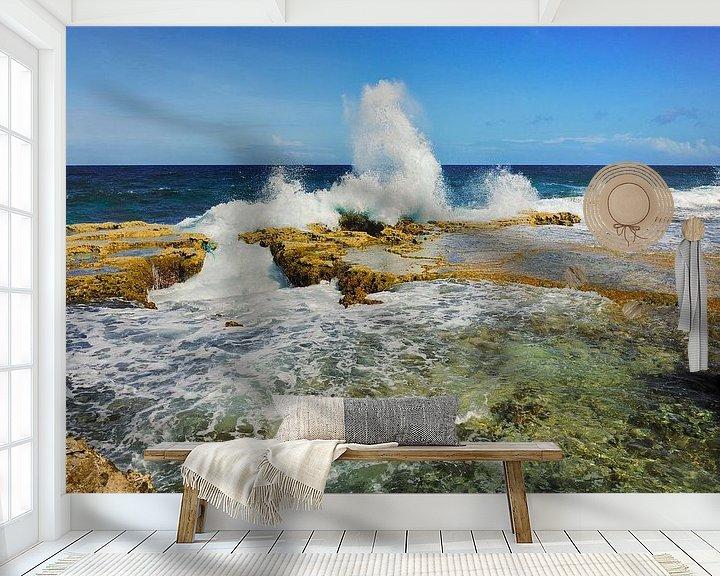 Sfeerimpressie behang: Golven aan de oostkust van Bonaire van M DH