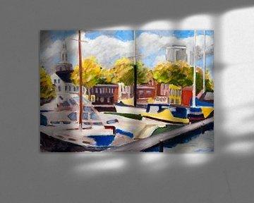 Blick auf den Hafen von Vlaardingen von Antonie van Gelder Beeldend kunstenaar