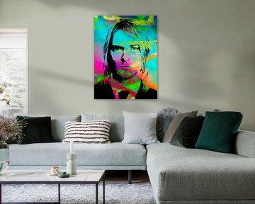Kurt Cobain Abstract Portret in Roze, Blauw, Groen Oranje, Zwart van Art By Dominic