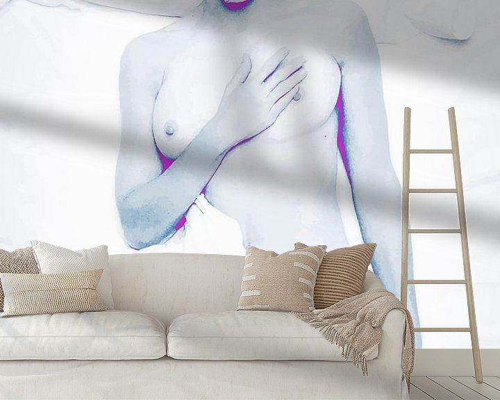 Beispiel fototapete: Im Bett mit Madonna Abstrakt in Blau Weiß Rosa Violett von Art By Dominic