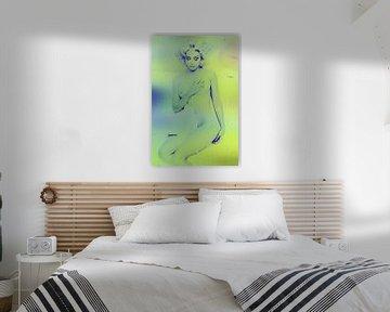 Im Bett mit Madonna Abstrakt in Grünblau von Art By Dominic