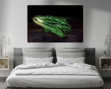 Bette à carde ou mangold, légume-feuille biologique cru sur un fond de bois foncé avec espace de cop sur Maren Winter