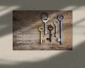 Verschillende sleutels op een rustieke houten plank, concept voor integratie van immigranten en vluc van Maren Winter