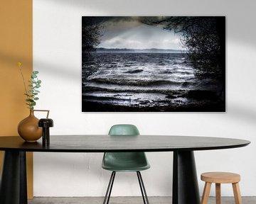 Meer met donkere golven aan de oever bij slecht stormweer in het bos en zonnestralen in de lucht, la van Maren Winter