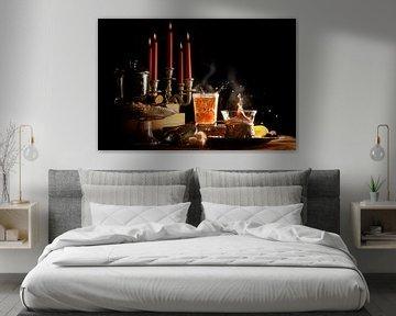 hete thee met spetter en stoom, kaarsen en snoepjes maken het donkere winterse leven gezellig, rusti van Maren Winter