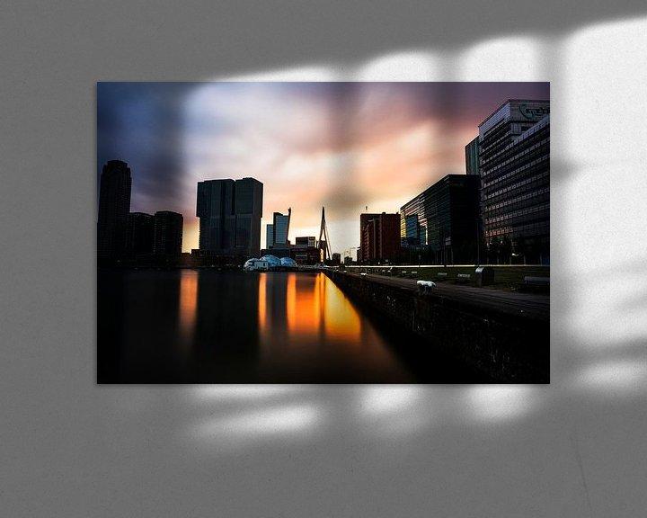 Impression: Coucher de soleil sur Rotterdam avec, entre autres, le pont Erasmus sur Tom van Vark Photography