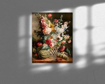 Früchte und Blumen in einem Weidenkorb, Antoine Berjon