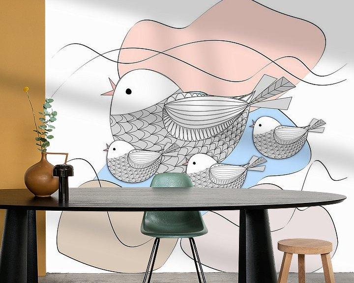 Beispiel fototapete: Grafische Vögel und Pastellformen von Thea Walstra