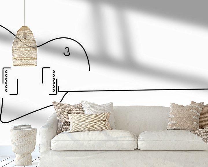 Beispiel fototapete: Gitarren-Silhouette (Les Paul-Stil) von Drawn by Johan