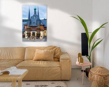 Das berühmte Rathaus in Wernigerode, Harz, Sachsen-Anhalt, Deutschland von Henk Meijer Photography