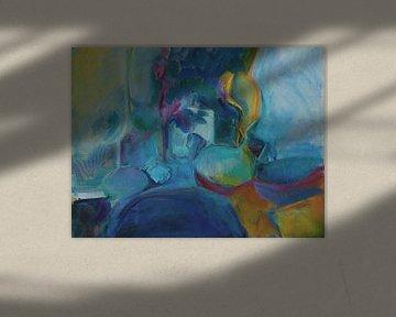 Abstraktes Stilleben in Blau, Gelb und Rot. von Paul Nieuwendijk