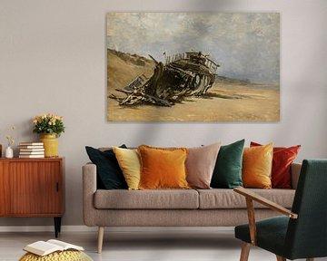 Carlos de Haes-Beschadigde houten boot, boot gestrand door de zee, Antique landschap