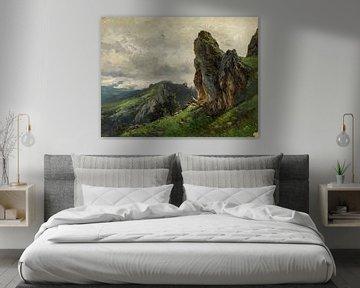 Carlos de Haes-Dunkle Wolken auf dem Gipfel des Berges, Sturm kommt, steinerne Berglandschaft, antik