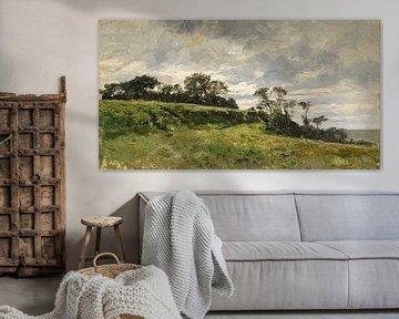 Carlos de Haes-Landschaft, grünes Gras, Wälder, antike Landschaft