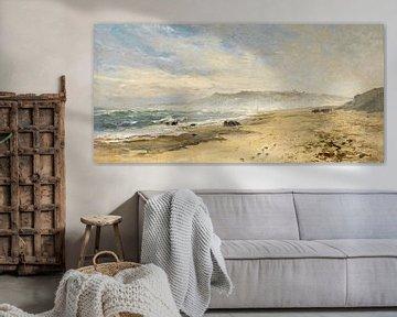 Carlos de Haes - Neblige Landschaft an der Küste der Normandie, antike Landschaft