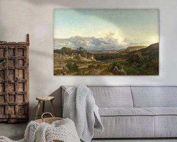 Carlos de Haes-Meisje zurück von der Weide, ländliche Idylle, antike Landschaft