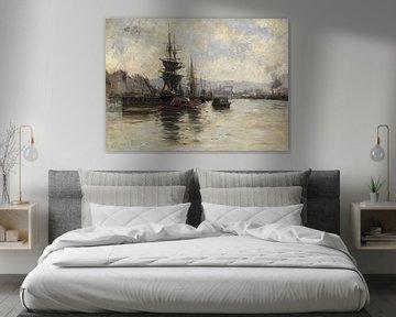 Carlos de Haes - Schiffe zur See, Antike Landschaft