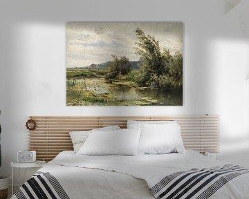 Carlos de Haes-Willow Baumlandschaft am Fluss, Antike Landschaft