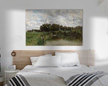 Carlos de Haes - Wilde Graslandschaft am Fluss, Antike Landschaft