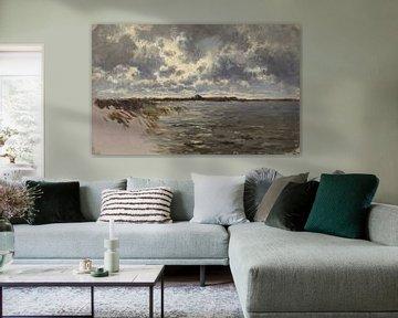 Carlos de Haes - Wilde Graslandschaft am Meer, Antike Landschaft