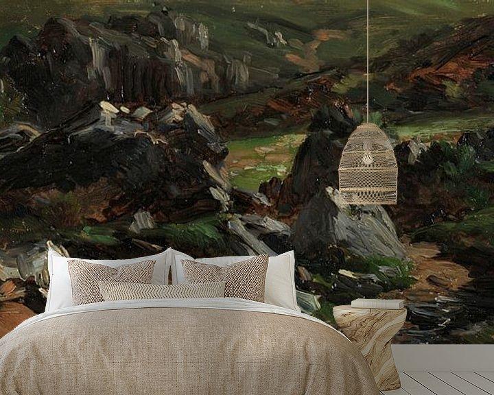 Impression: Carlos de Haes-Paysage de montagne en pierre noire, Paysage antique