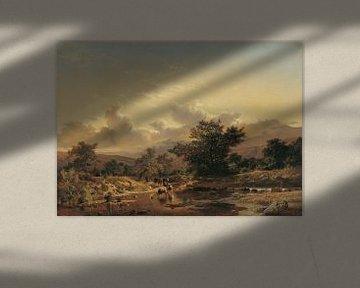 Carlos de Haes~Landschaft mit Rindern an einem Fluss