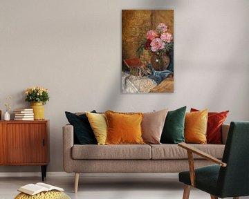 Francesco Malacrea-Stillleben mit Blumenstrauß, Schmuckkästchen und Miniatur, signiert F.