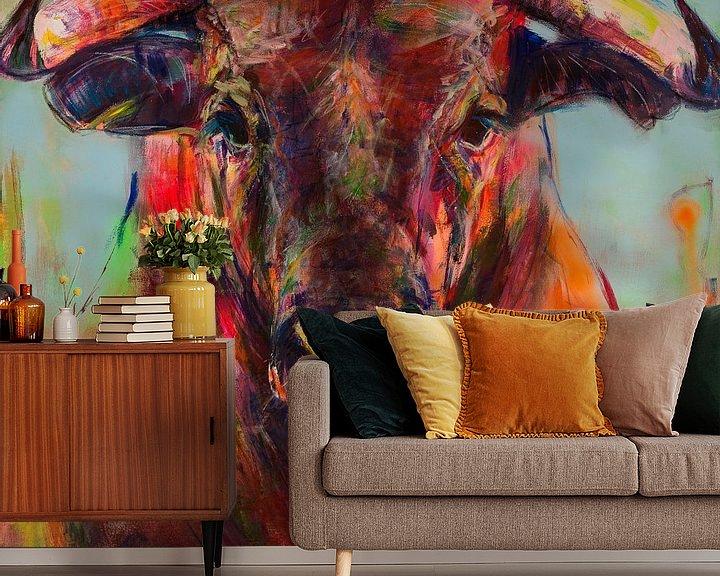 Beispiel fototapete: Gemälde eines Porträts eines Stiers von Liesbeth Serlie